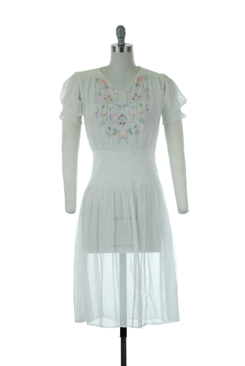 RESERVED ON LAYAWAY Rare 1930s Hungarian Peasant Dress with Multicolored Embroidery and Smocking