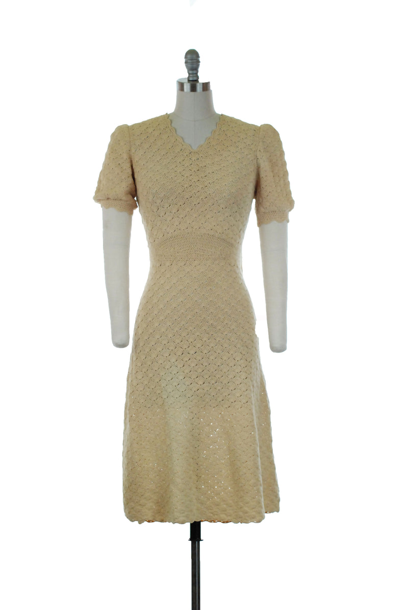 Charming Sunshine Yellow 1940s Day Dress with Rainbow Stripe Banding