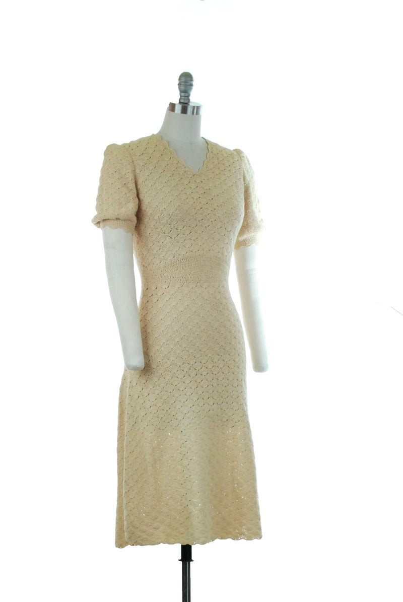Gorgeous Late 1930s Butter Yellow Crocheted Rayon Dress in Fan Stitch