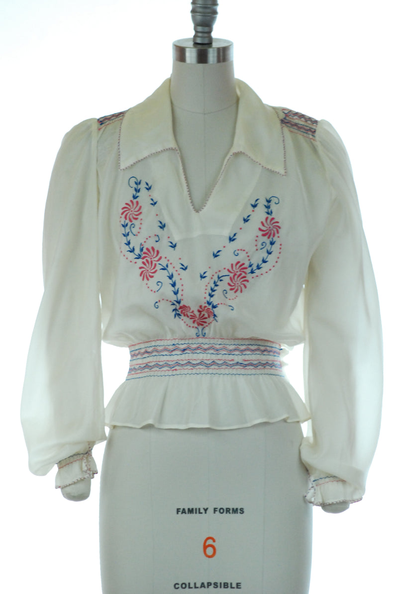 Rare 1940s Parachute Nylon Peasant Blouse with Hungarian Inspired Embroidery
