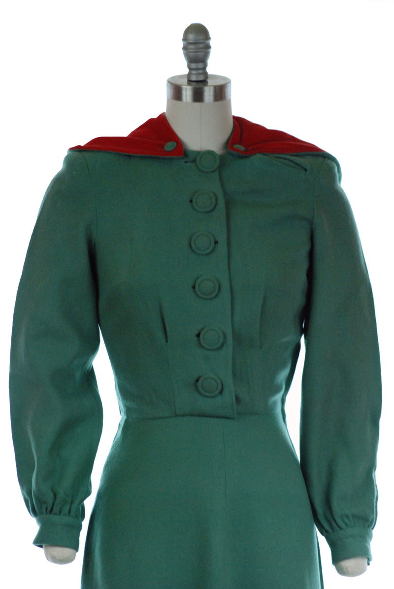 Rare 1940s Hooded Wool Day Dress in Sage Green with Optional Velvet-Lined Hood