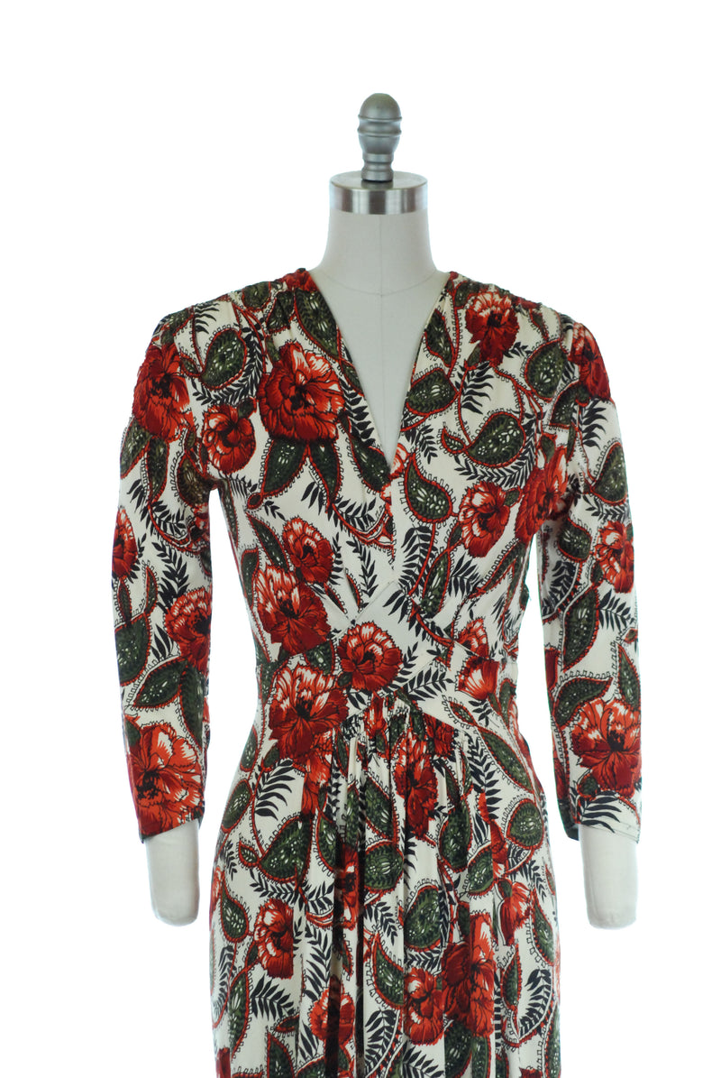 Gorgeous 1940s Rayon Jersey Day to Evening Dress in Autumnal Paisley Floral