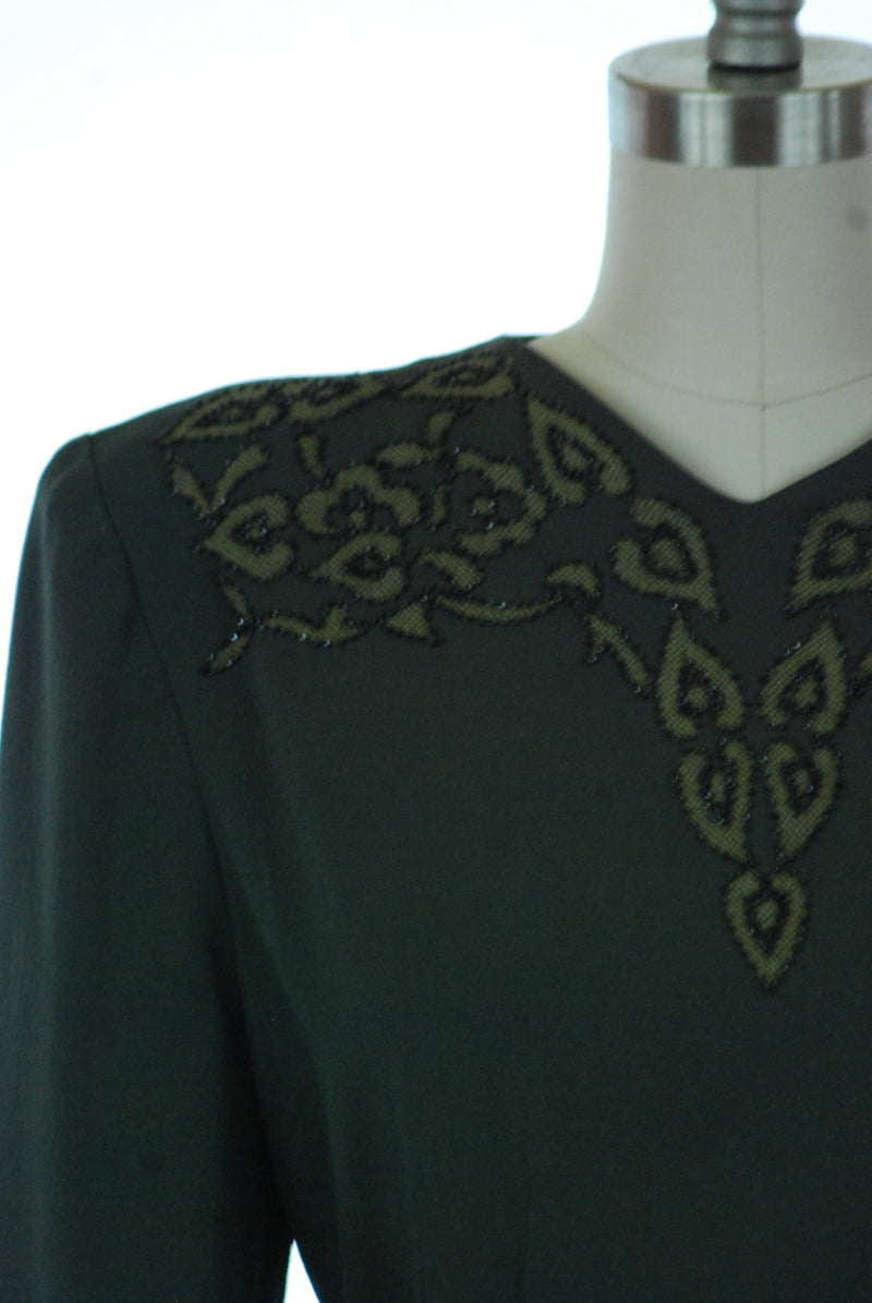Wonderful Forest Green Rayon Crepe 1940s Day Dress with Carnival Glass Beading, Stenciled Mesh and Yellow Cuffs