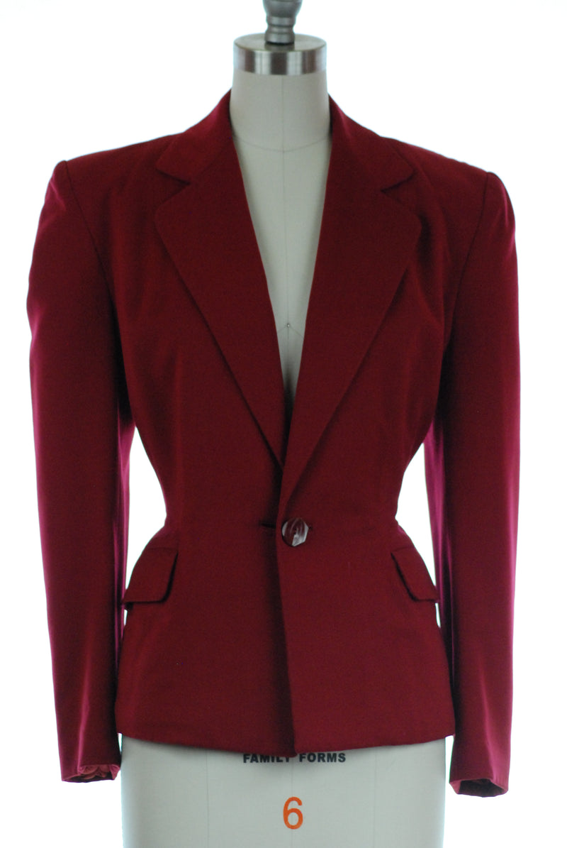 Rich 1940s Burgundy Gabardine Suit Jacket with Lined Double Button