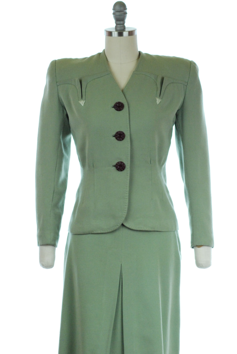 Smart Tailored 1940s Sage Green Suit in XS Petite with Embroidered Arrows