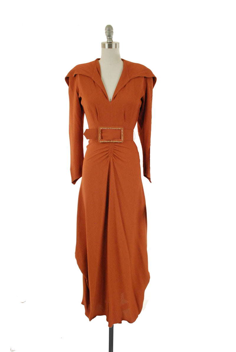 RARE 1940s Rust Colored Rayon Crepe Hooded Evening Gown with Draped Skirt