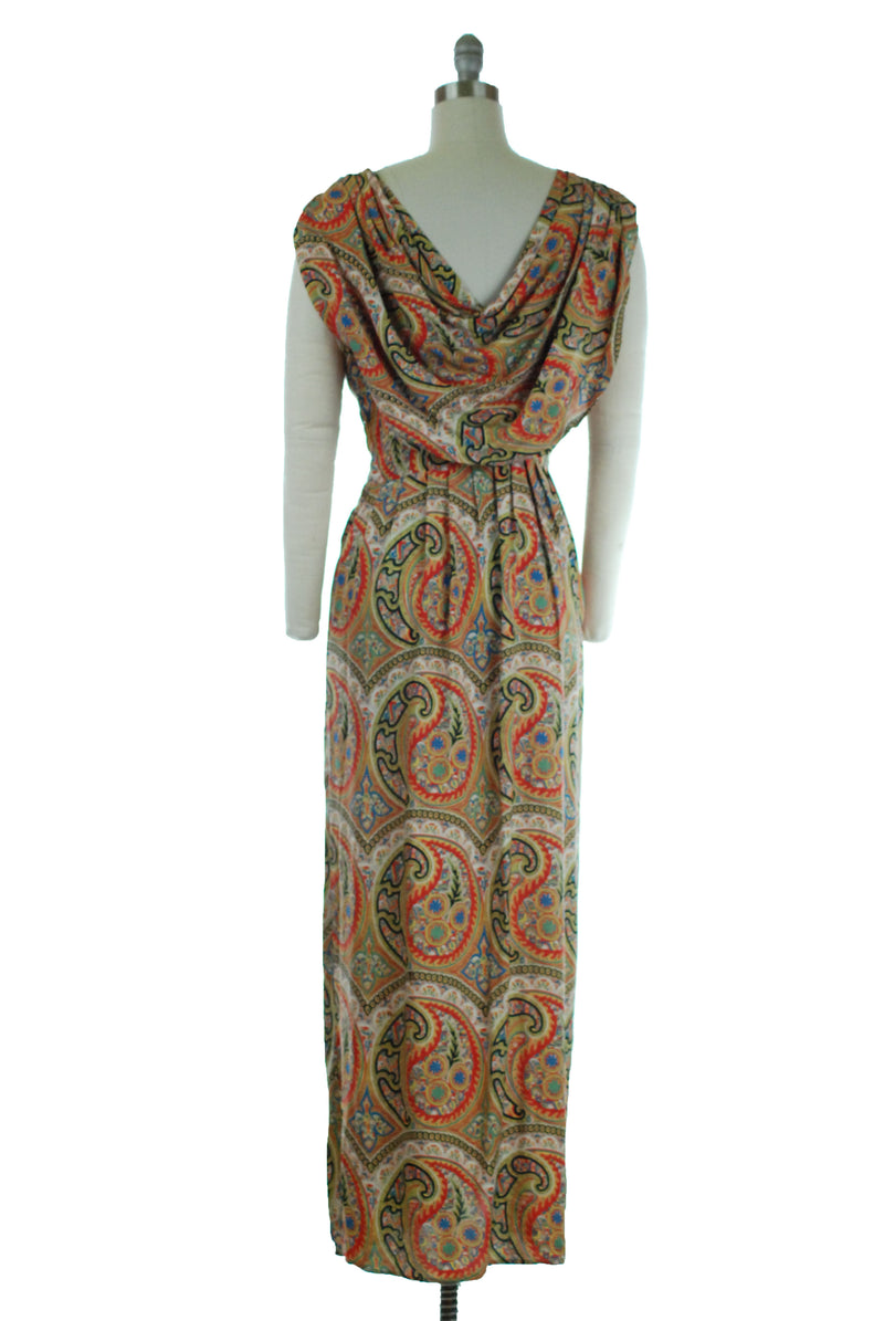 Gorgeous 1940s Cold Rayon Evening Gown in Vibrant Paisley with Pleated Drape