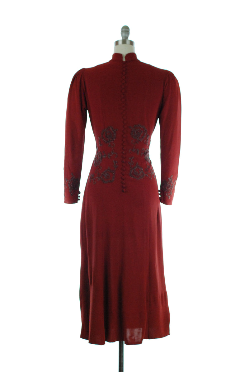 Gorgeous Late 1930s Rust Colored Rayon Dress with Beaded Soutache