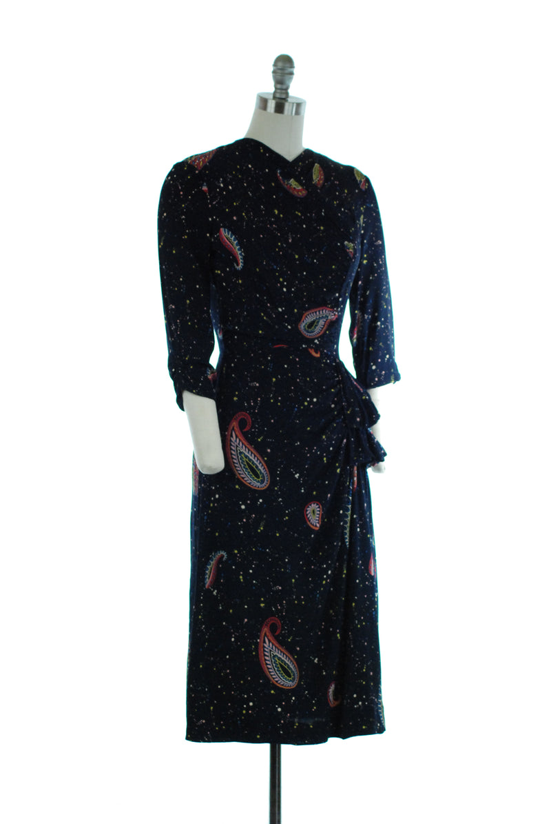 Stunning 1940s Navy Blue Paisley Print Draped Dress by Leslie Fay