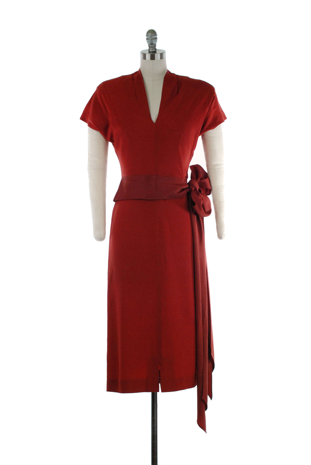 Rich 1940s Cinnamon Red Rayon Dress with Long Attached Sash