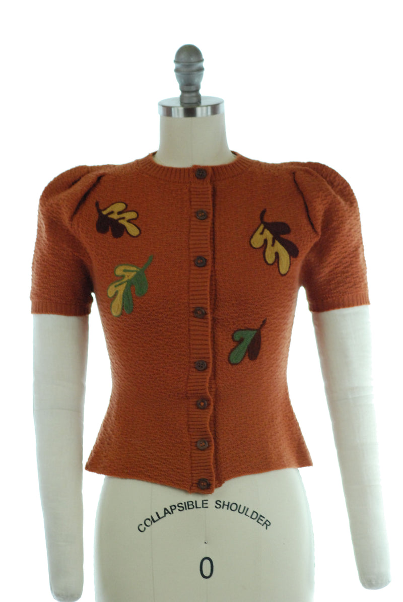 Rare Late 1930s Puff Sleeve Cardigan in Brown with Fall Leaf Embroidery XS