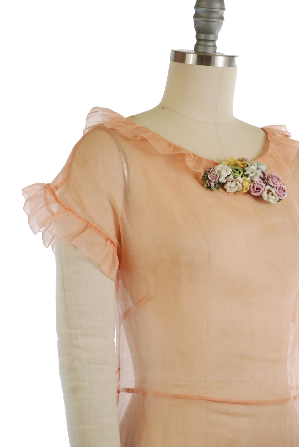 Ethereally Light 1930s Peach Organza Summer Dress XS XXS