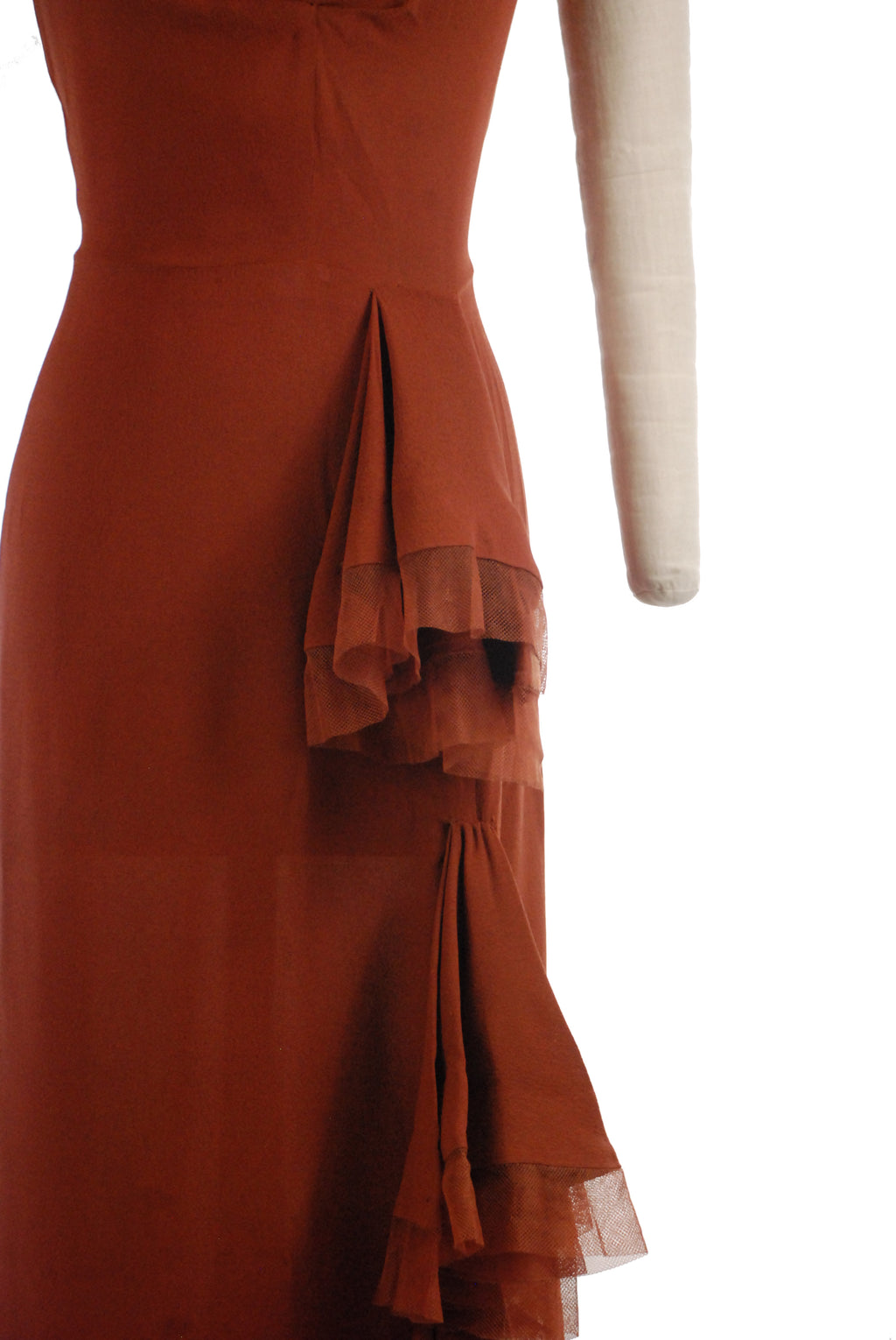 Elegant 1940s Evening Gown in Rust Brown Rayon Crepe with Silk Tulle Trim