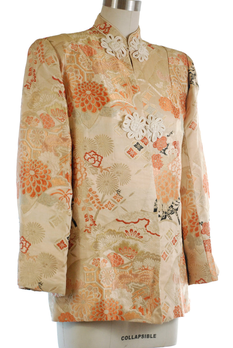 Sophisticated 1940s Post War Japanese Silk Brocade Jacket made of Obi Material