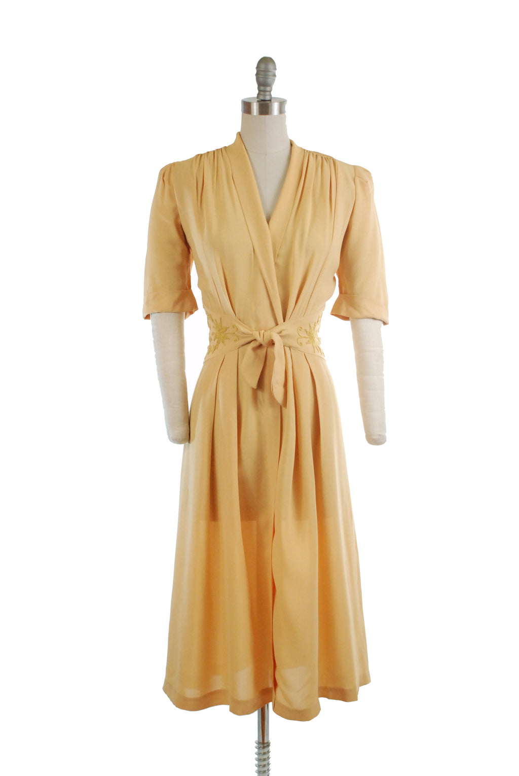 Fantastic 1940s Butter Yellow Dream Dress with Tie-Front Soutache Midwaist