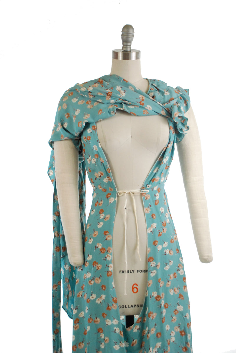 Best 1930s Cold Rayon Wrap Style Maternity Dress in Cornflower Blue with Brown Floral Print