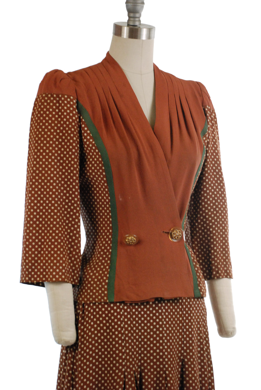 Fantastic 1940s Two Piece Dress Suit Ensemble of Cold Rayon Polka Dots and Solid Brown Rayon Crepe