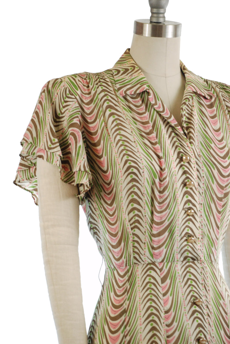 Summery 1940s Day Dress by McKettrick in Bemberg Rayon with Abstract Print