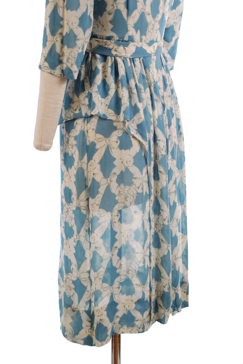 Sweet 1940s Semi-Sheer Bemburg Rayon Day Dress with Bow Motif, As Is