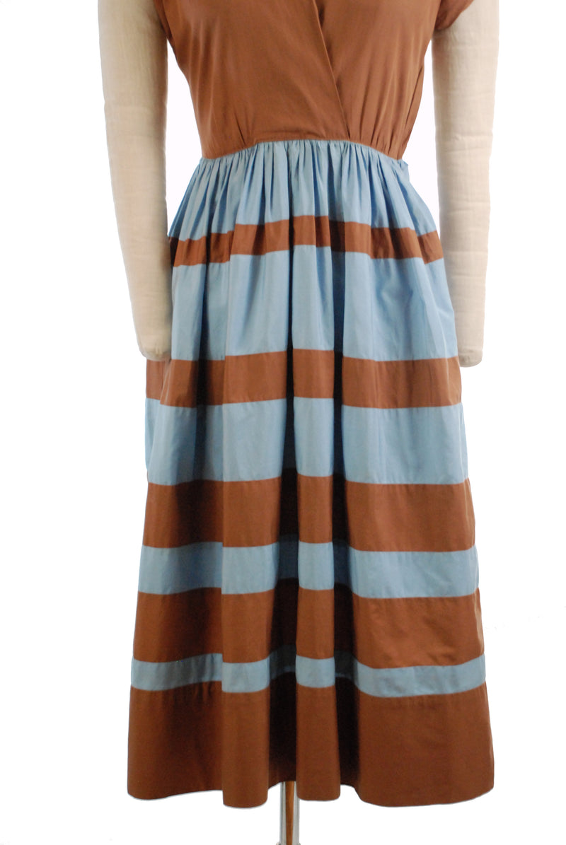 Smart Late 1940s Cotton Day Dress with Banded Colorblock Skirt in Blue and Brown