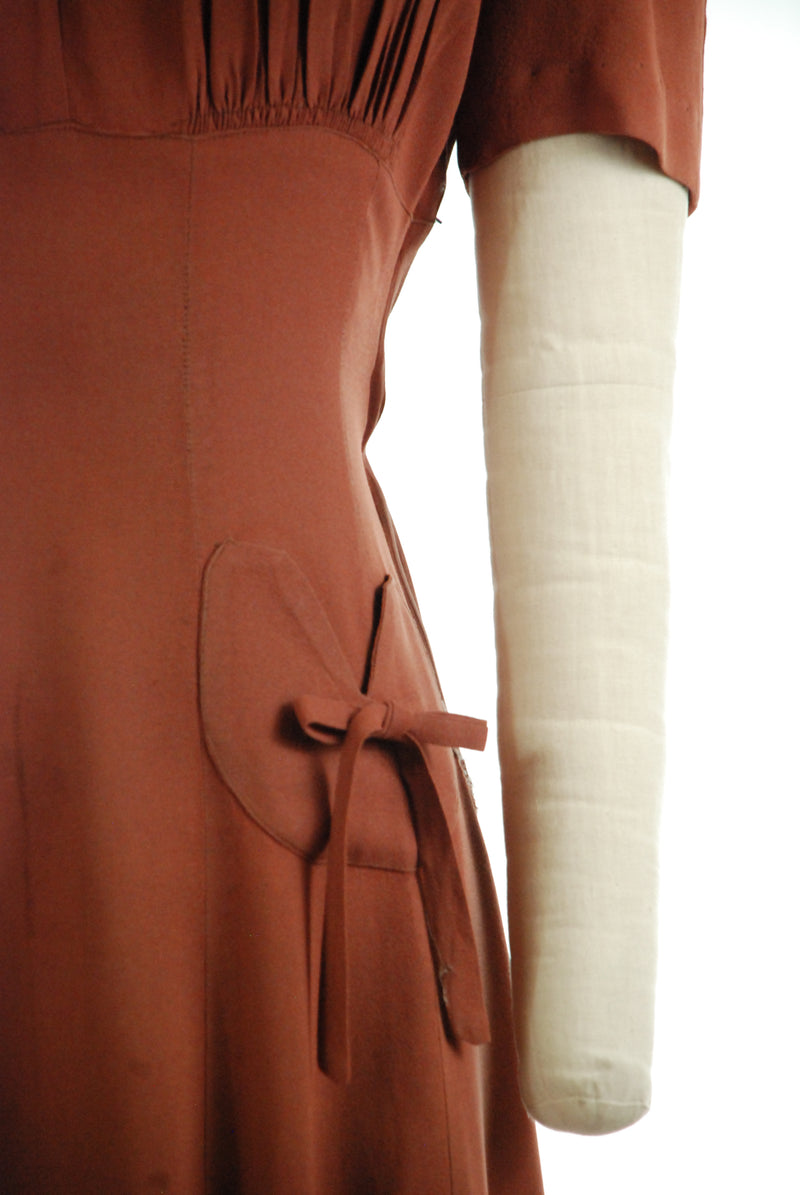 Darling Late 1930s Nut Brown Dray Dress with Ruched Accents and Bows
