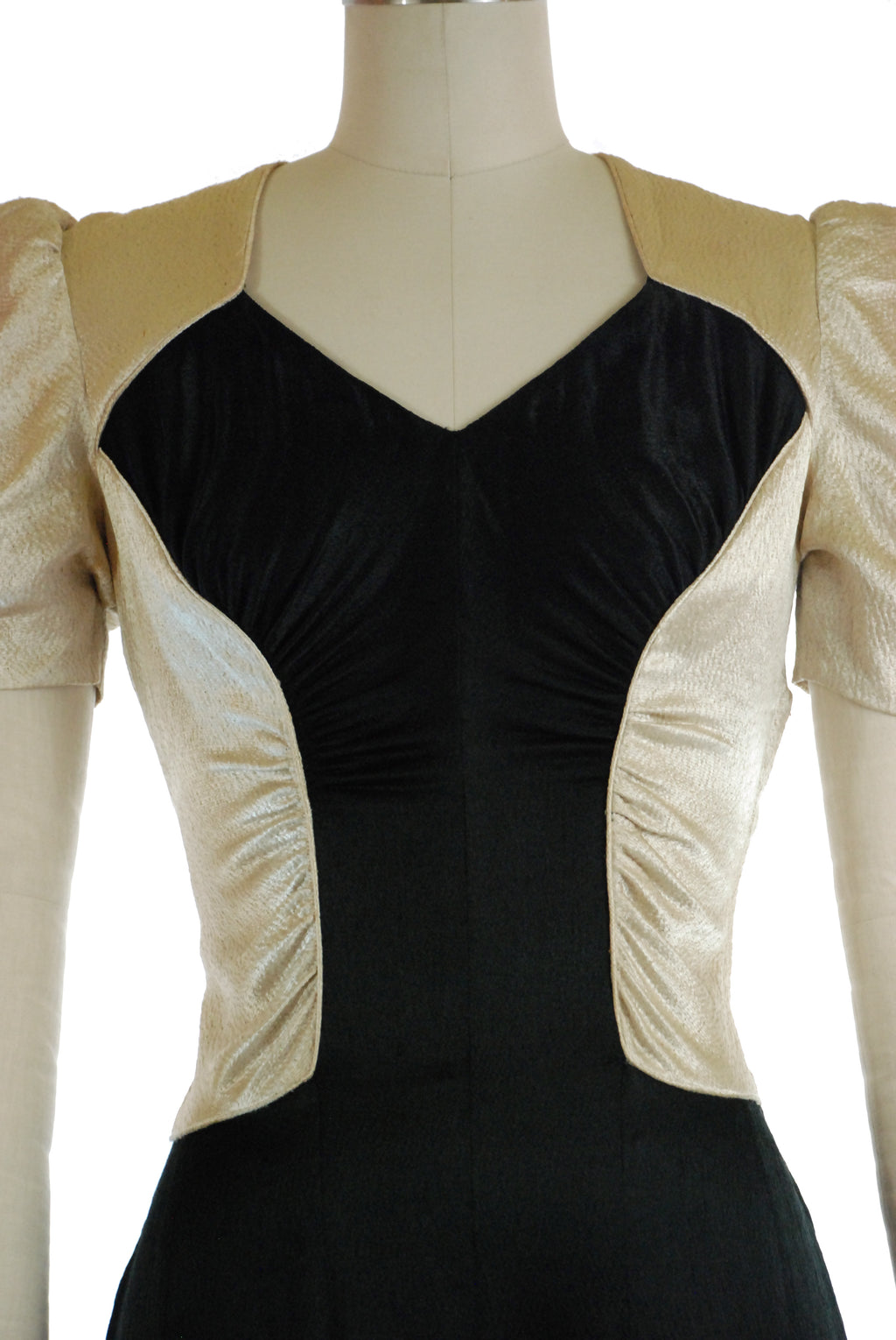 Exquisite 1930s Hammered Charmeuse Satin Evening Gown in Black and Ivory Color Block by Jean-Louise, Toronto