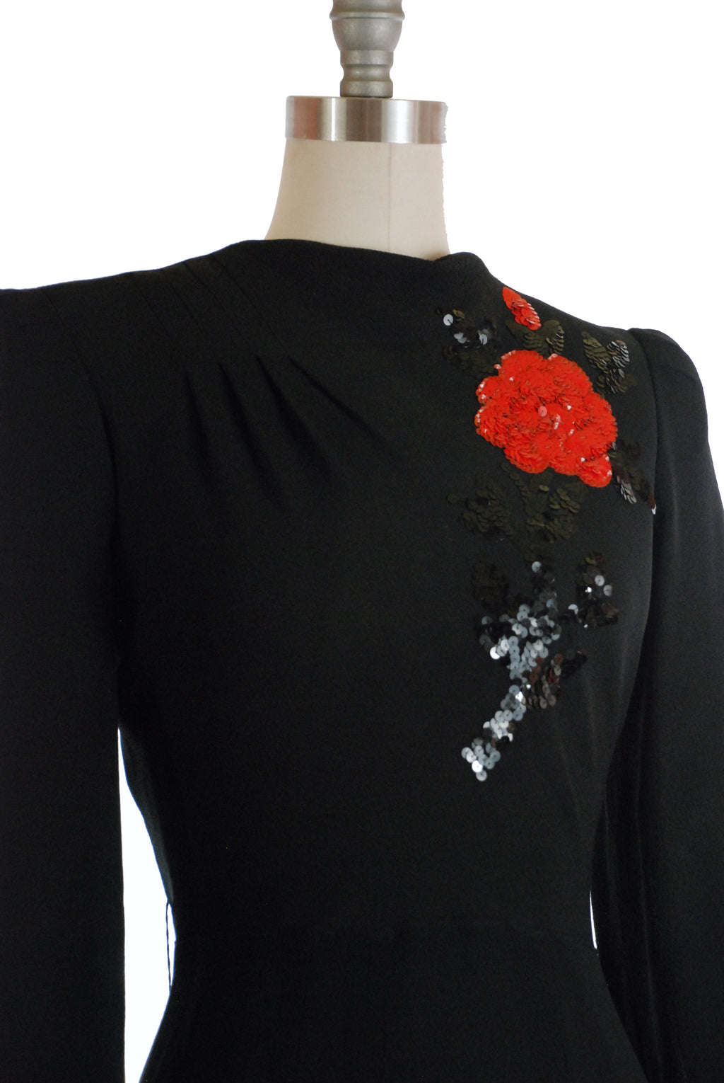Stunning Late 1930s/Early 1940s Rayon Crepe Dress with Dramatic Sequined Rose