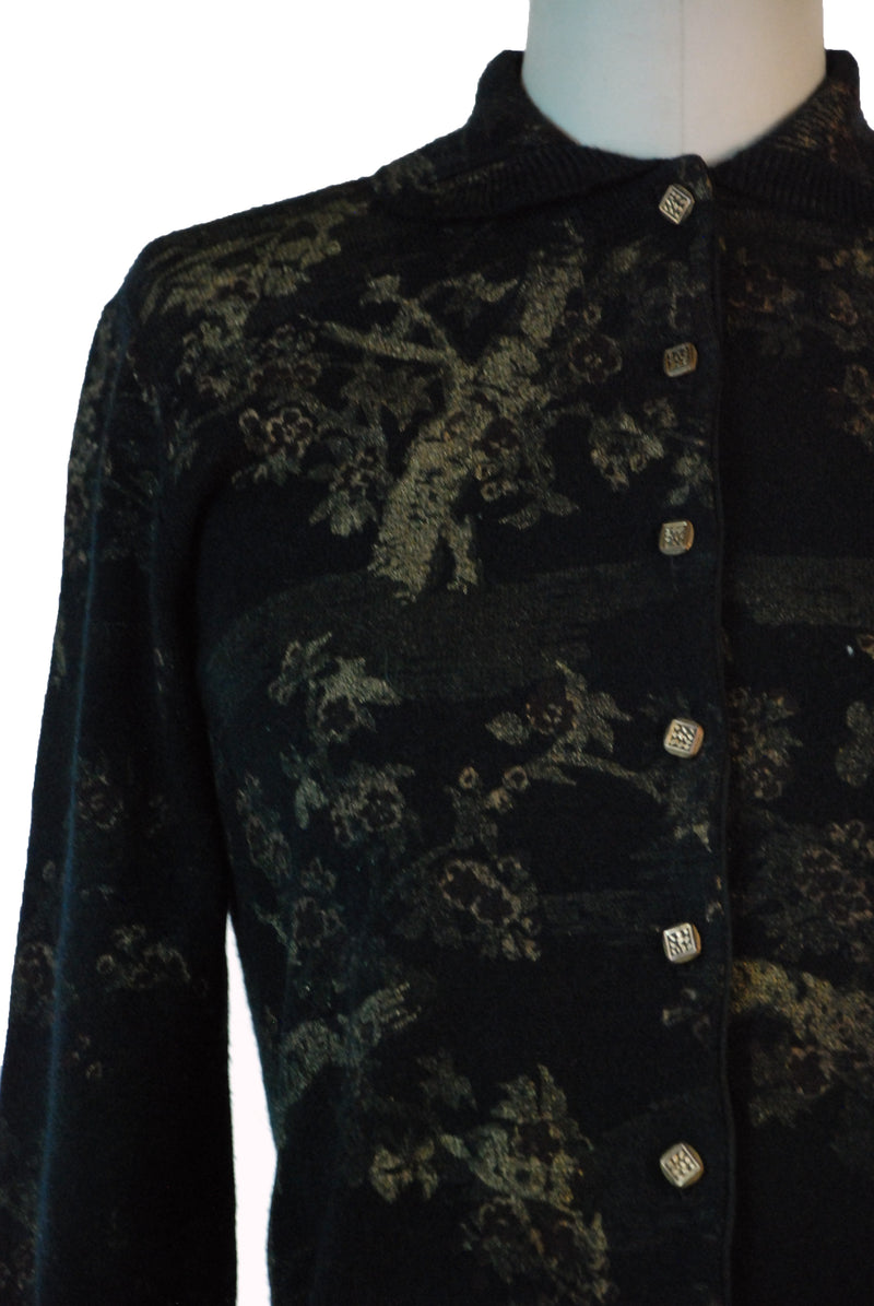 Fab 1950s Cardigan Sweater Printed with Metallic Gold Cherry Trees