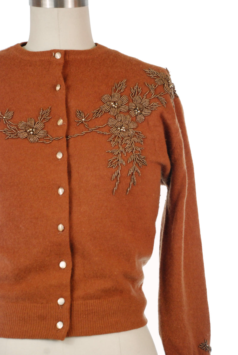 Lovely Camel Colored Wool Knit Cardigan with Copper Beading