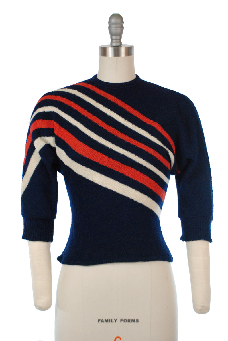Exceptional 1950s Boucle Sweater with Asymmetric Stripes in Red and White