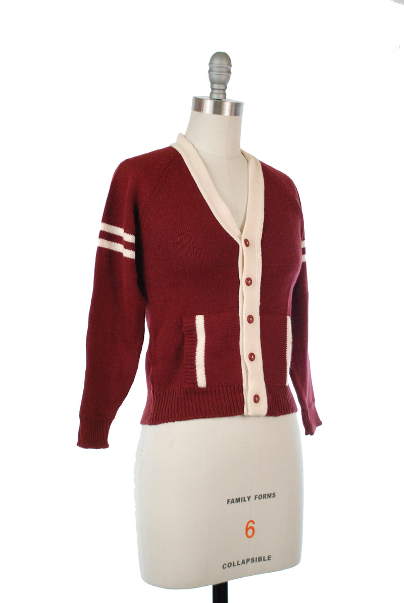 Cute 1970s Varsity Inspired Knit Cardigan Sweater