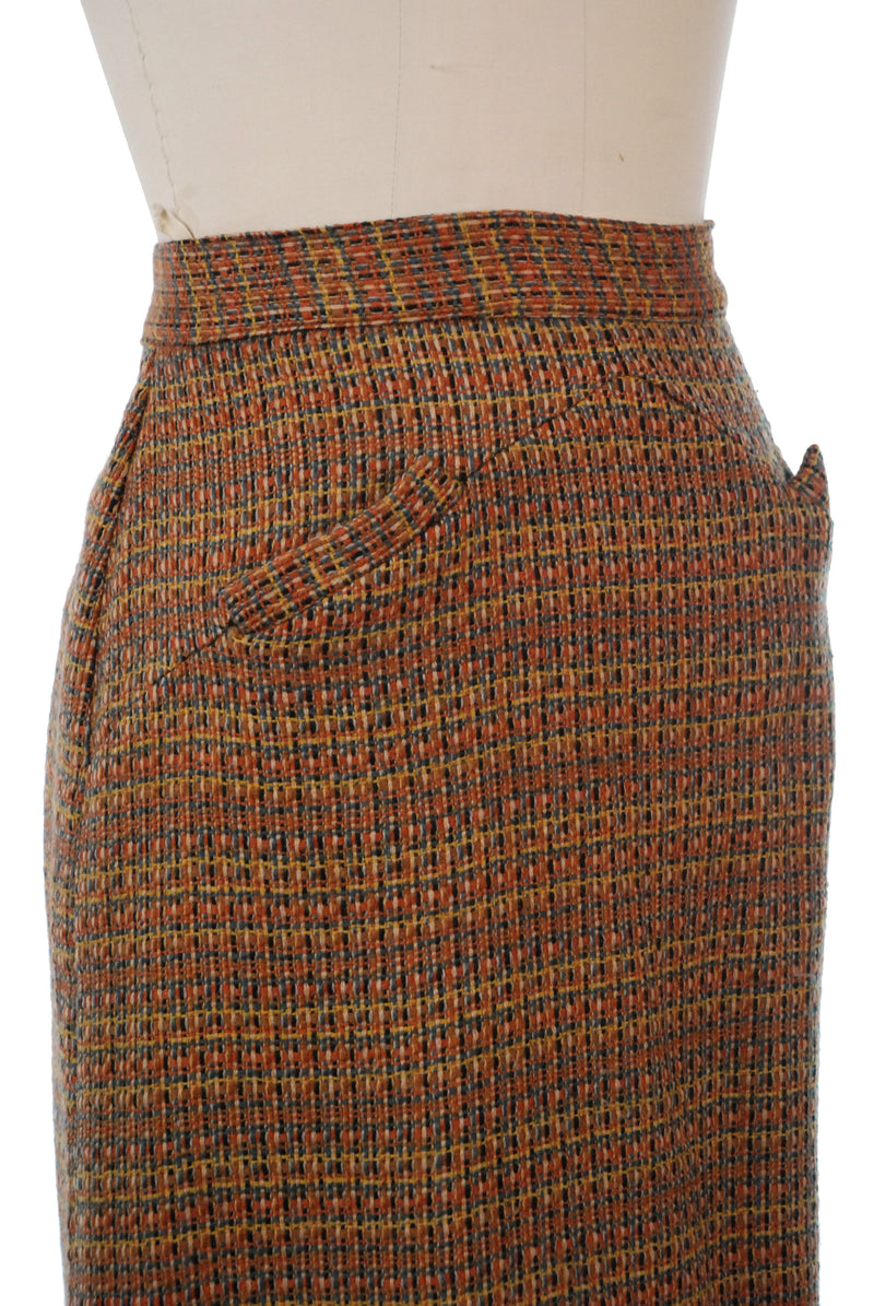 Colorful Late 1950s Tweed Wool Pencil Skirt with Pocket Accents