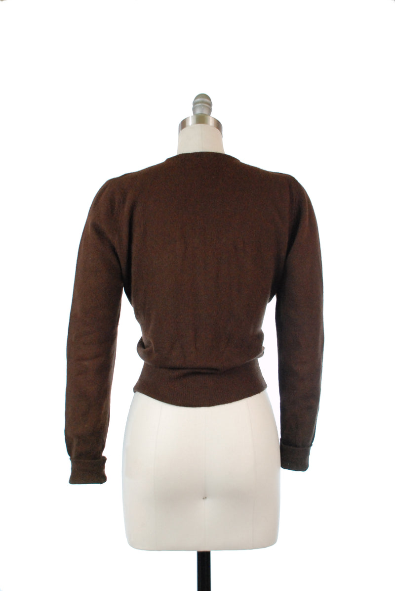 1950s Warm Chocolate Brown Lightweight Wool Pullover Sweater