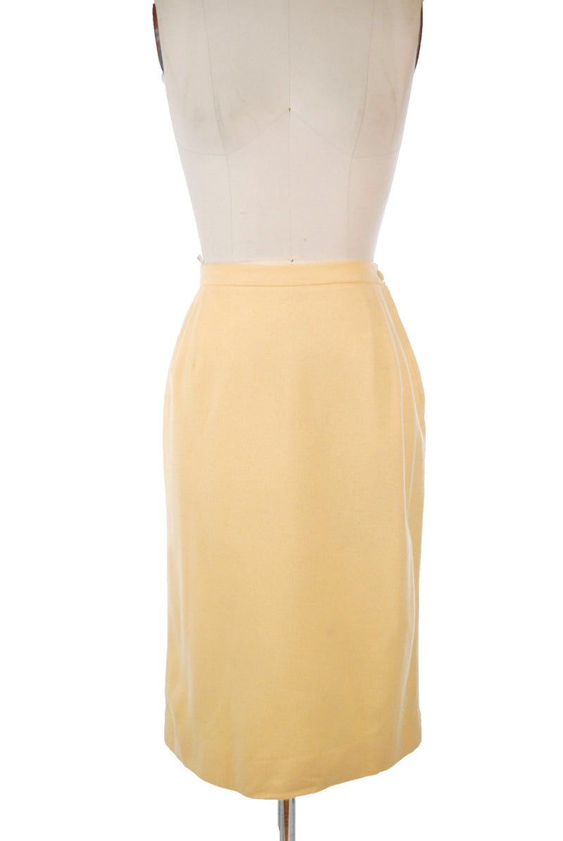 Sunny 1950s Lemon Yellow Wool Straight Skirt