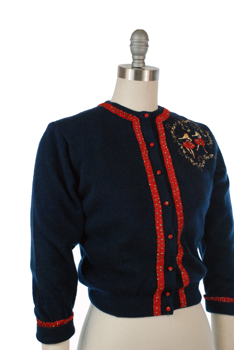 Darling 1950s Novelty Cardigan in Navy Cashmere with Handpainted Ballerinas