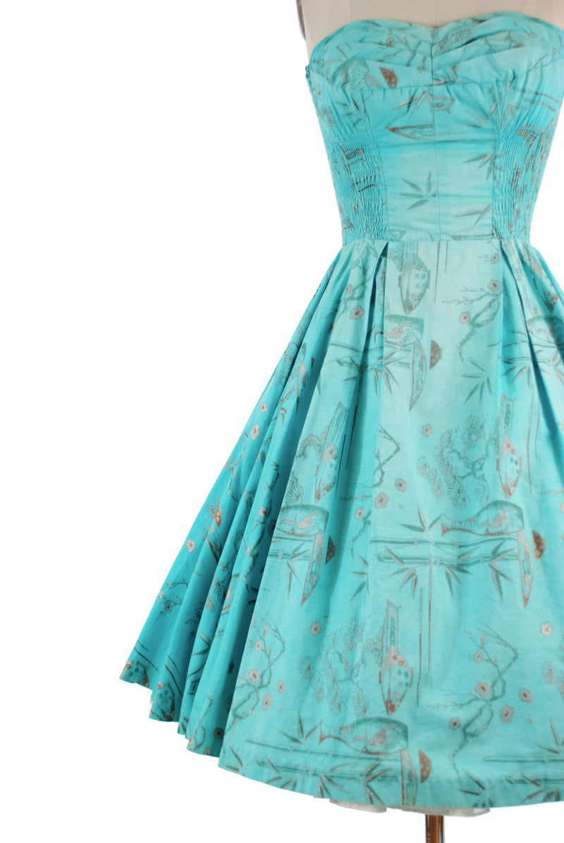 Classic 1950s Shaheen Strapless Full Skirted Hawaiian Dress in Turquoise