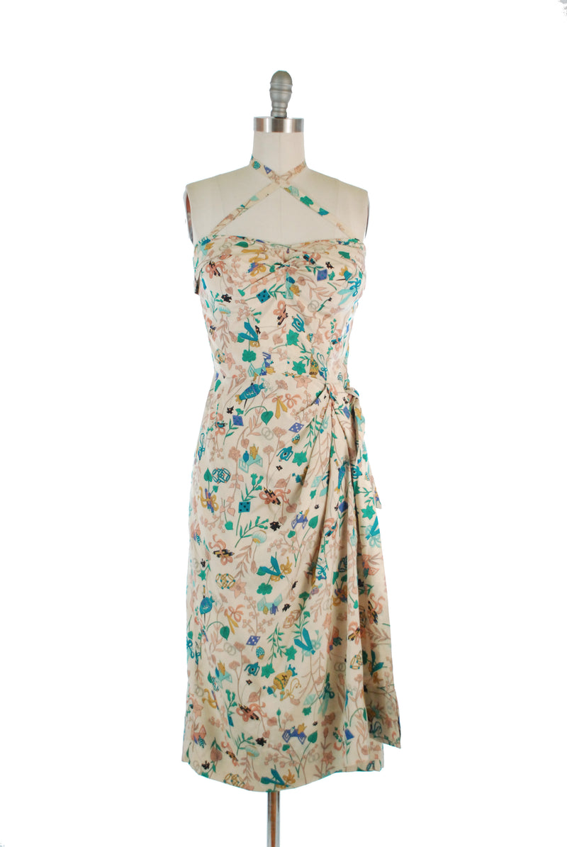 Sexy 1950s Tropical Silk Sarong Dress with Asian Objects Novelty Print