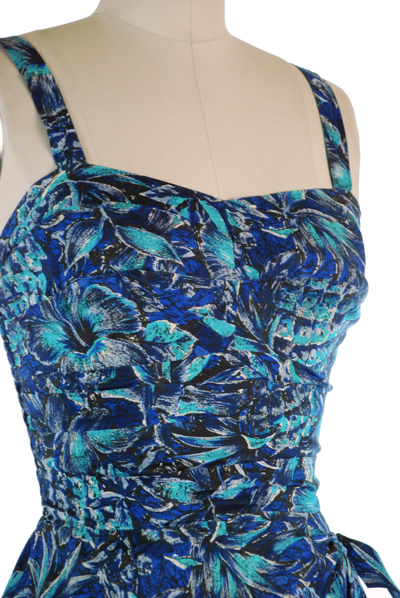 Luxurious 1950s Silk Sarong Dress in Blue Hibiscus and Pineapple Print