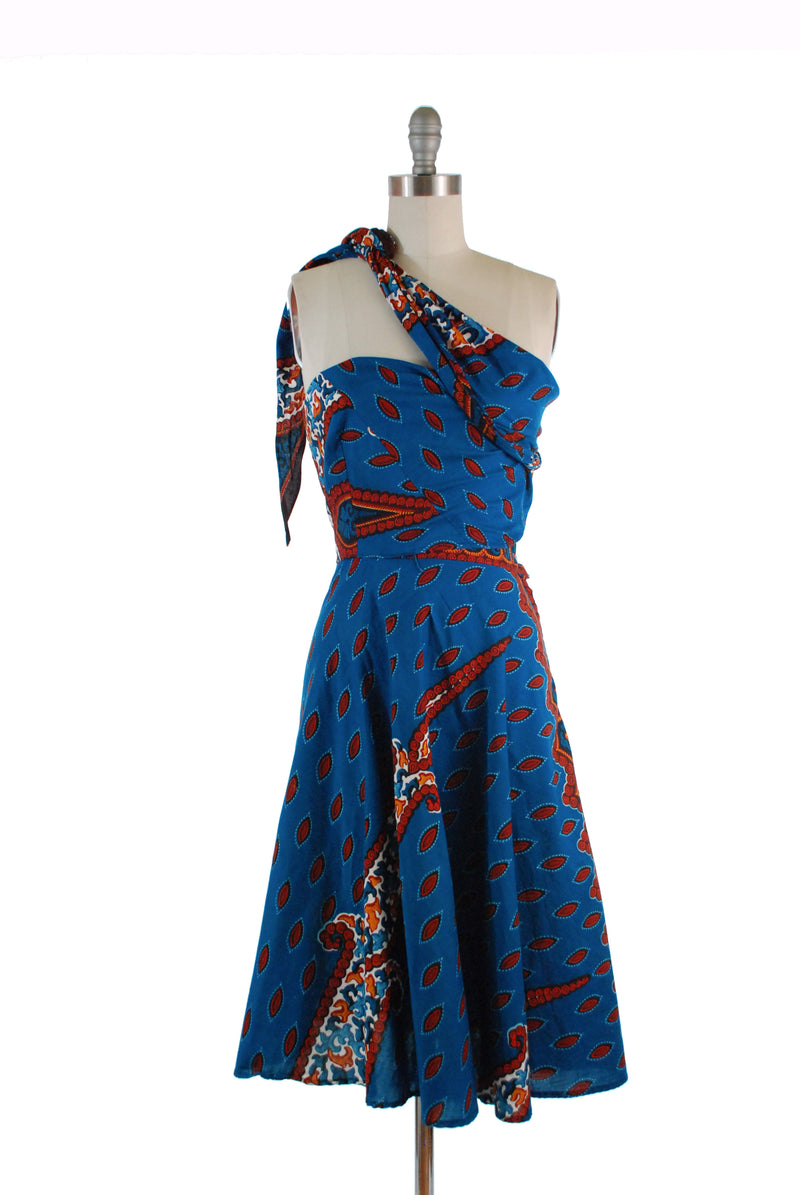 Rare Late 1950s Convertible Wrap Dress in Colorful Java Batik Cotton