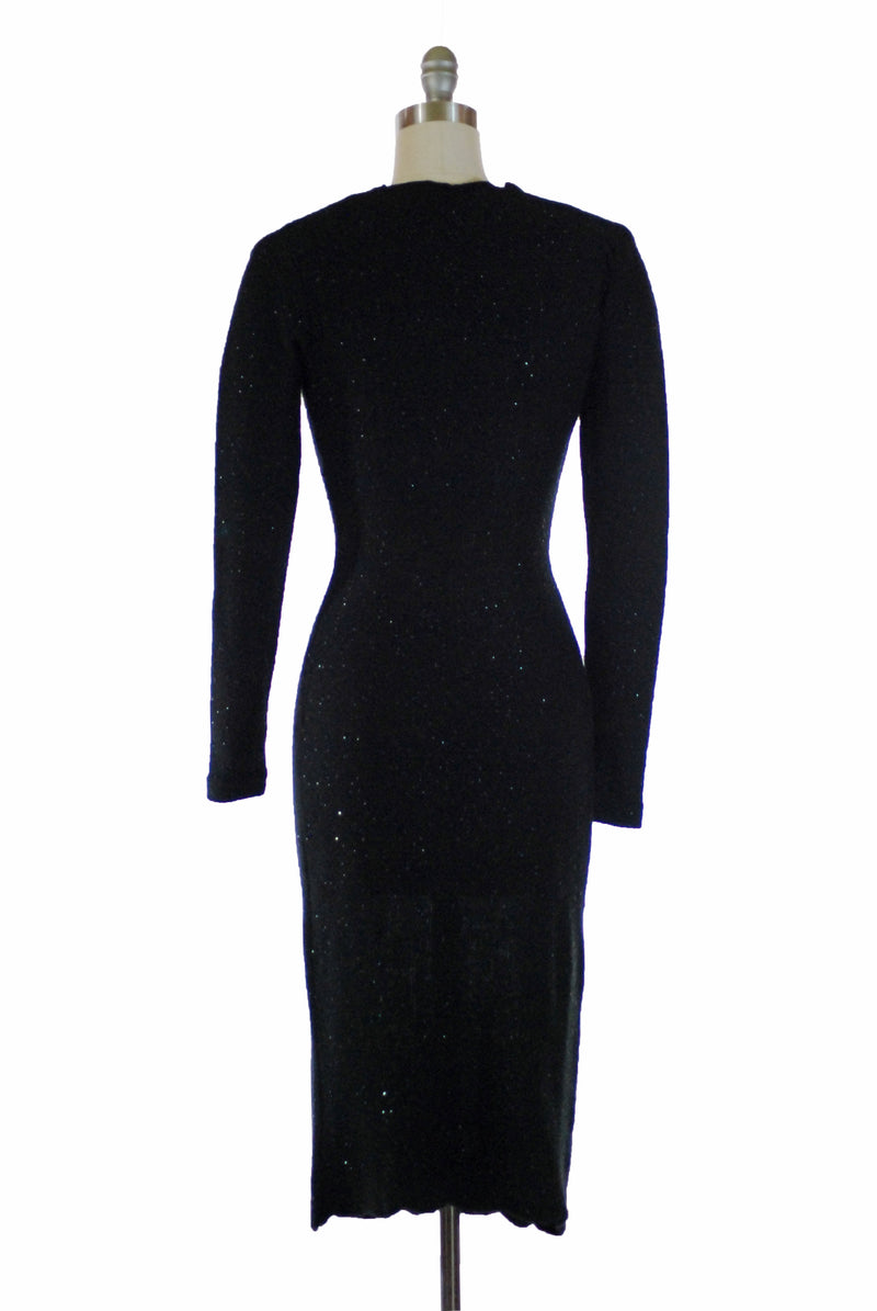 Killer Late 1930s Slinky Femme Fatale Knit Dress Beads