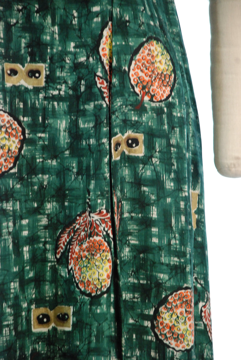 Stunning 1940s Rayon Holomuu with Batik Pineapple Print by Watamull's and Leilani