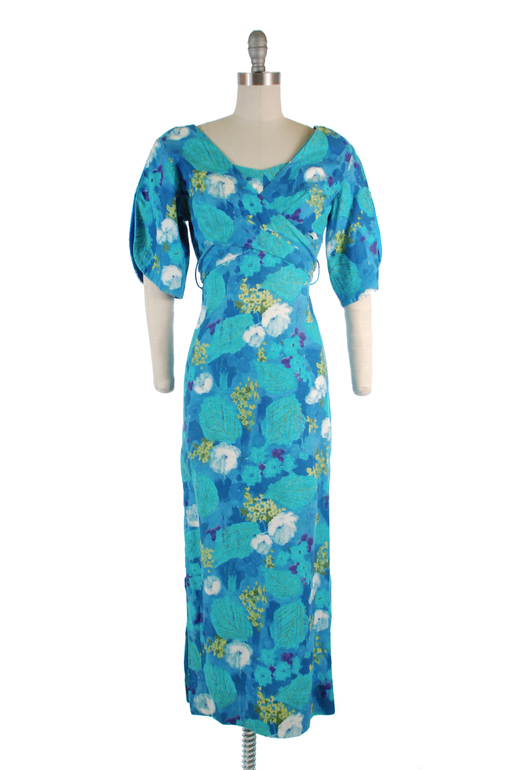 Stunning 1960s Adjustable Bust Hawaiian Dress in Periwinkle and Teal