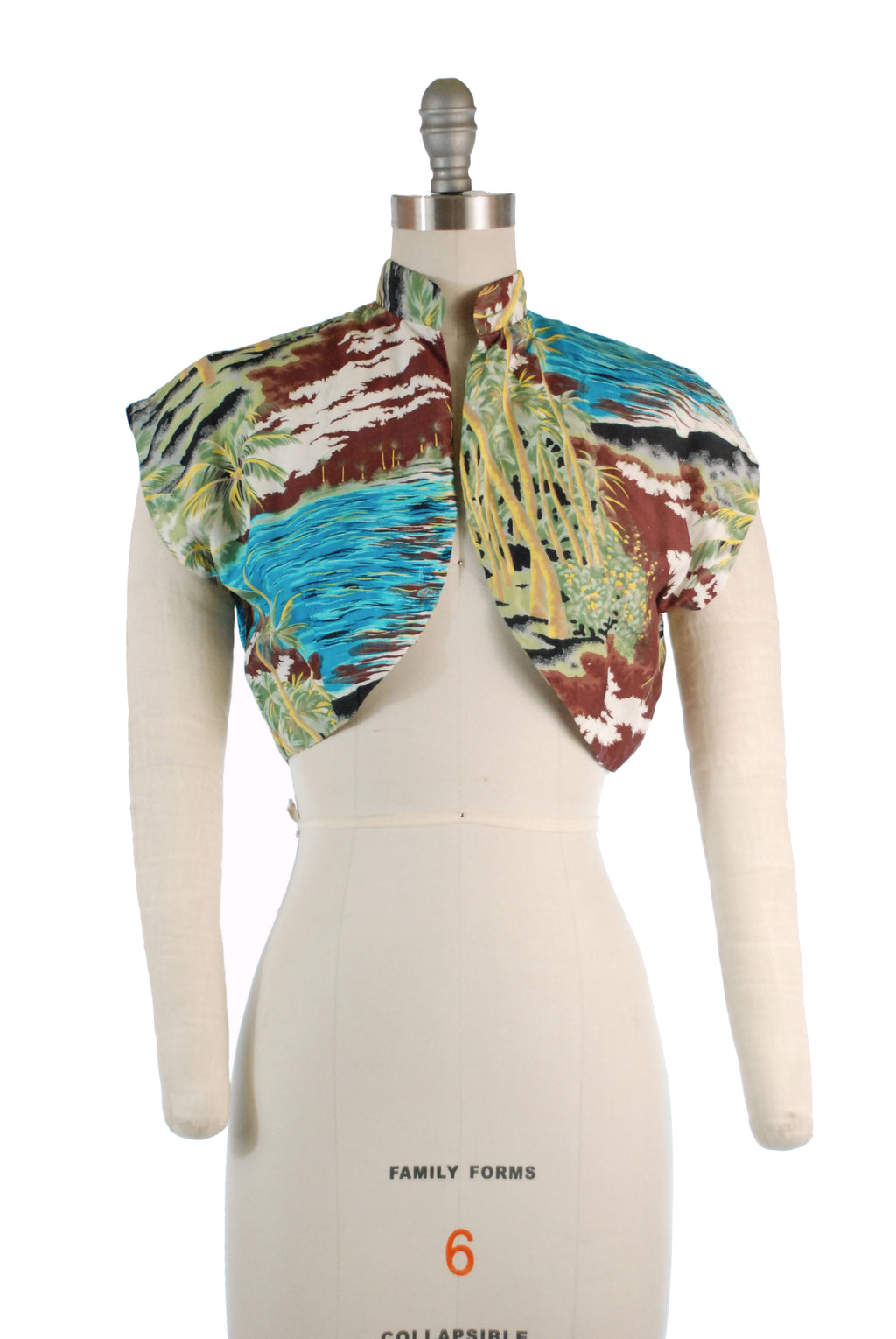 Killer 1950s Rayon Bolero with Hawaiian Palm Tree Print
