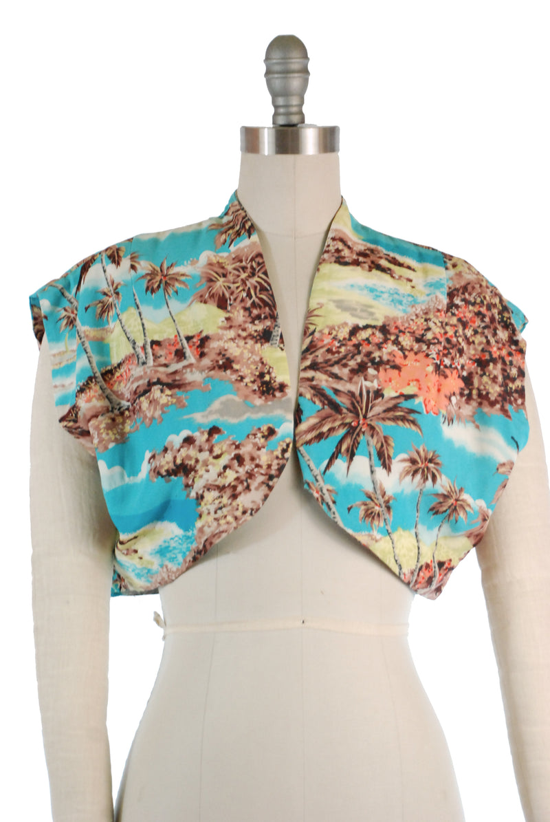Gorgeous Early 1950s Watamulls Hawaiian Sleeveless Bolero in Rayon Crepe with Palm Trees
