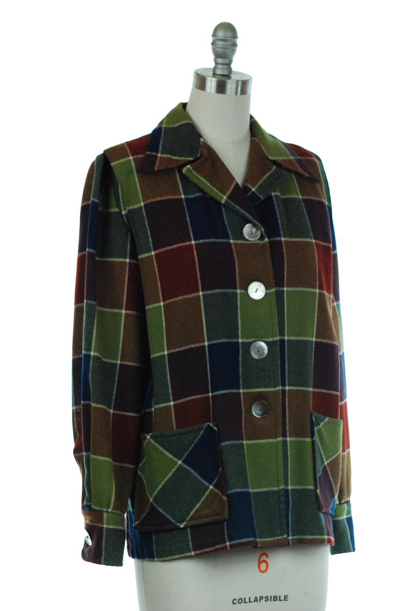 Rich Autumnal 1940s Pendelton 49'er in Deep Saturated Windowpane Plaid
