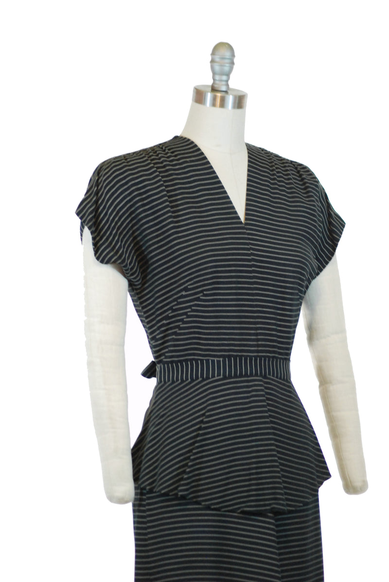 Pinstriped 1940s Day Dress in Black and White with Peplum