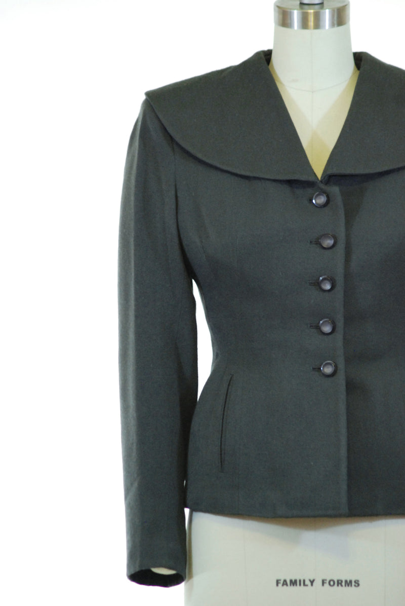 Smart 1950s New Look Jacket with Dramatic Waist and Large Collar