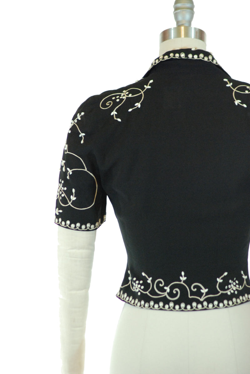 Elegant Late 1930s Cocktail Jacket with Ivory Embroidy, White Sequins and Beads