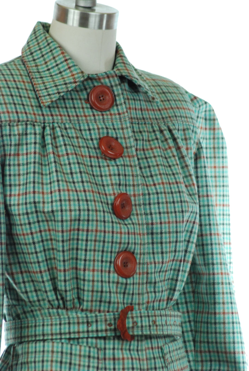 Gorgeous 1930s Style Reproduction Casual Belted Jacket of Green Checked Wool with Victorian Revival Sleeves