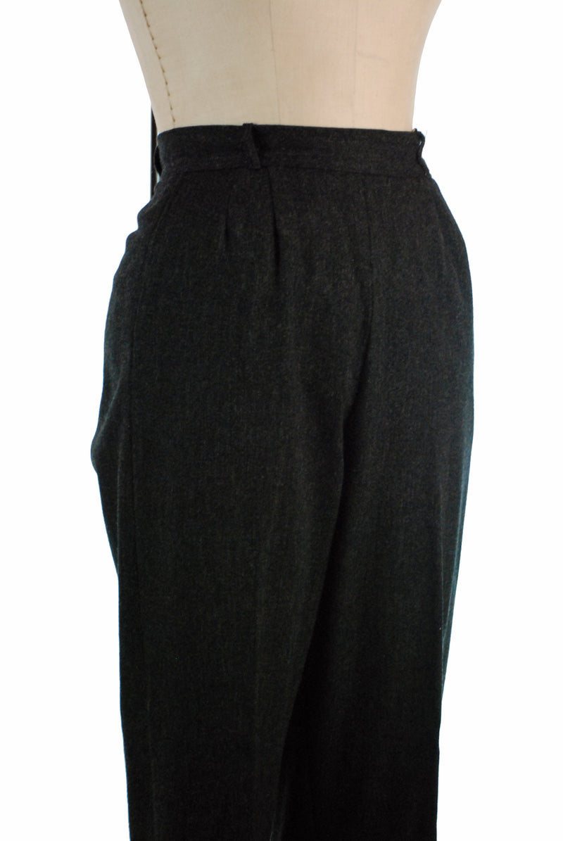 Smart Late 1940s Wool Trousers in Heathered Pewter Grey Wool